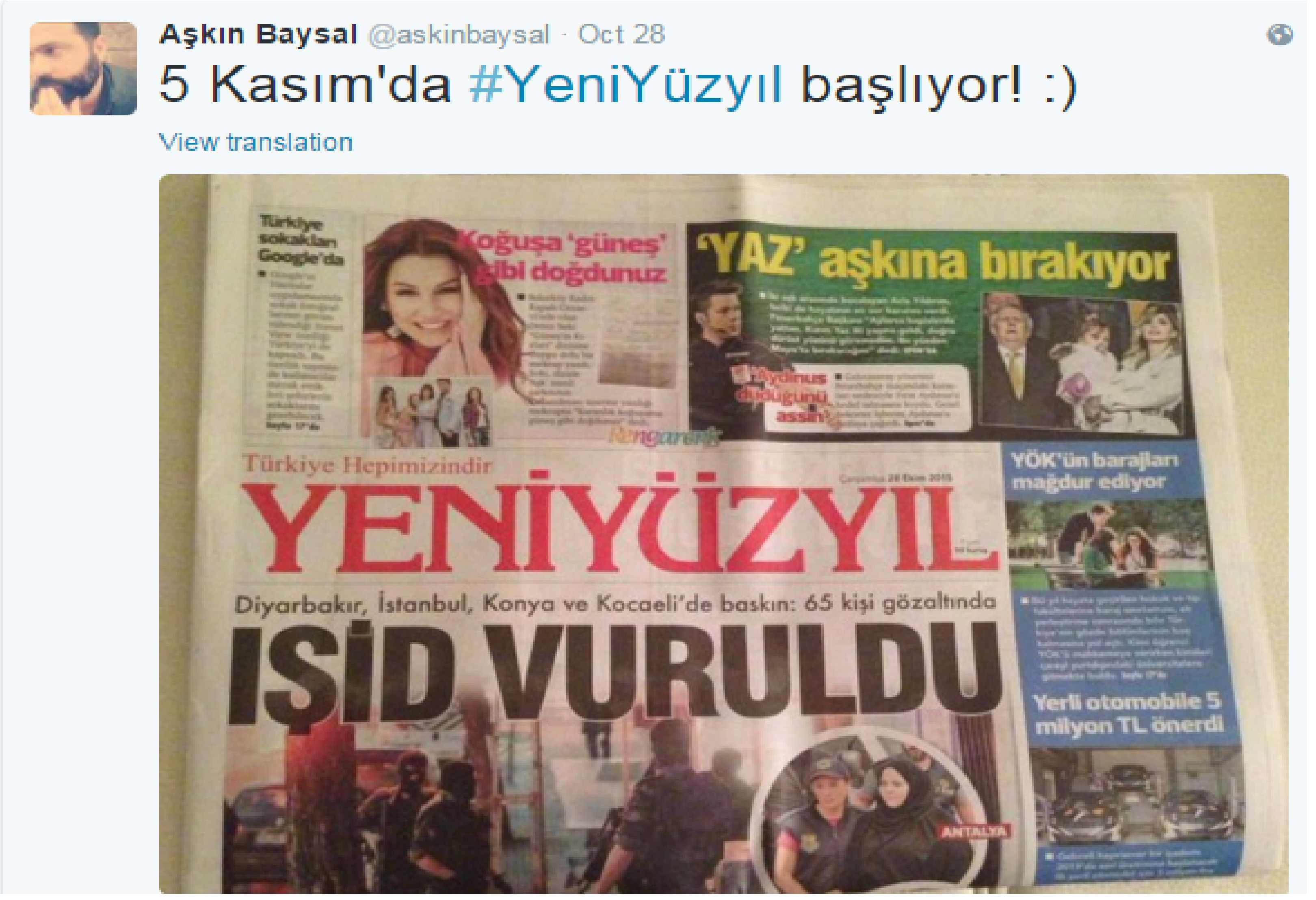 Yeni Yüzyıl gazetesi genel yayın yönetmeni Aşkın Baysal oldu!