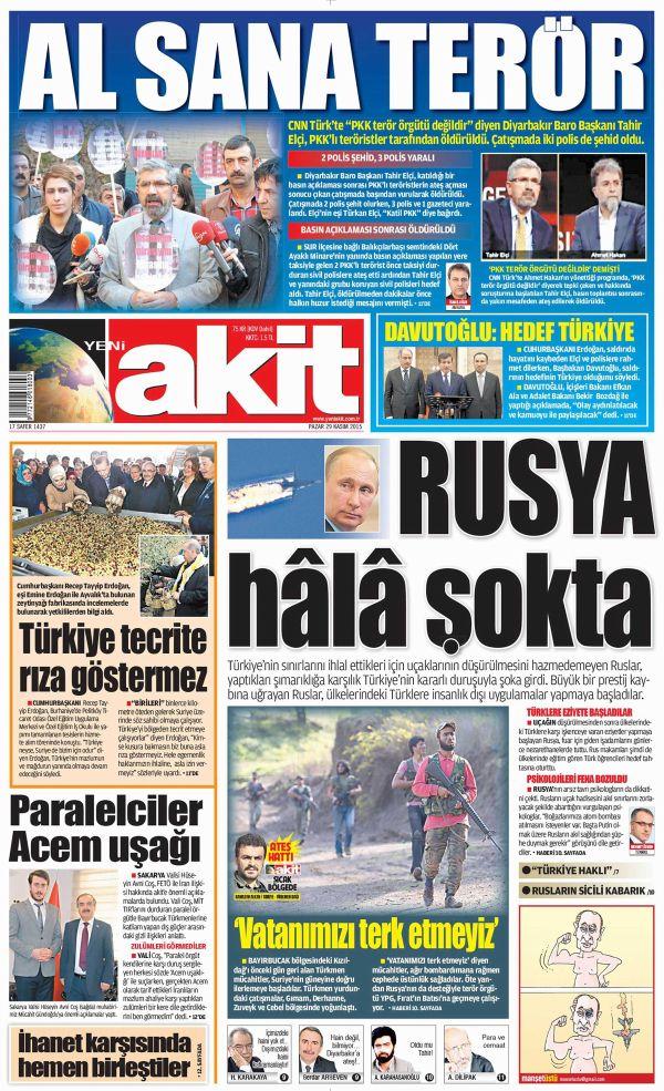 Akit'in Tahir Elçi manşeti 'yok artık' dedirtti!