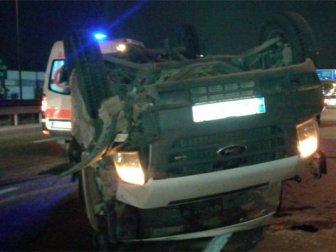İşçi servisi takla attı: 1 ölü, 7 yaralı