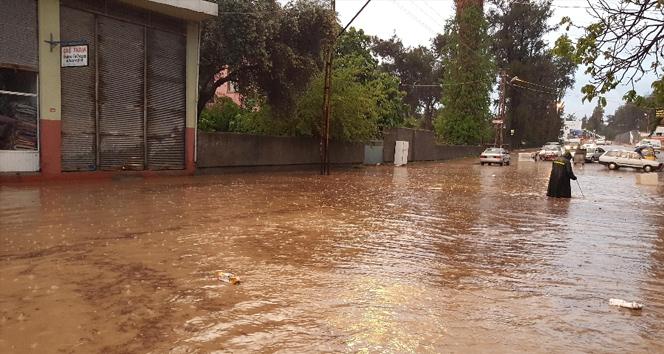 Şiddetli yağmur göle çevirdi