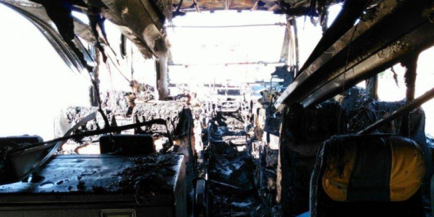 Elazığ'da Yolcu Dolu Otobüs Alev Aldı