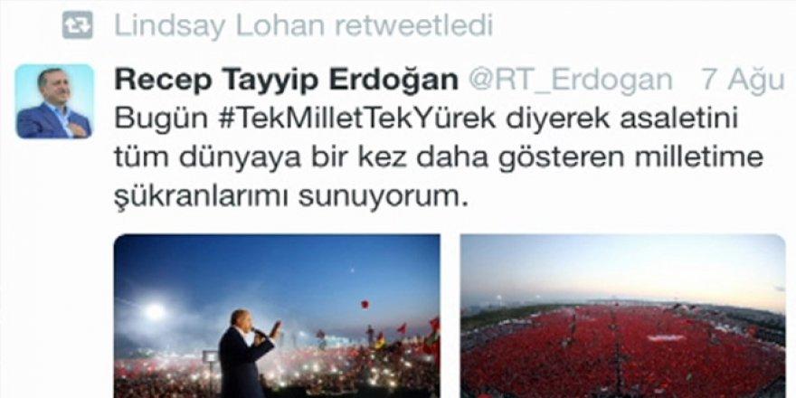 Hollywood Yıldızı Lindsay Lohan Erdoğan'ı retweetledi
