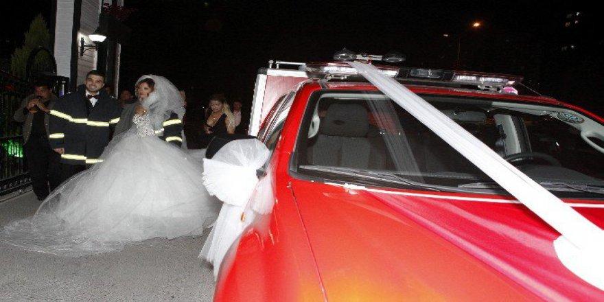 İtfaiye Aracını Gelin Arabasına Çevirdiler