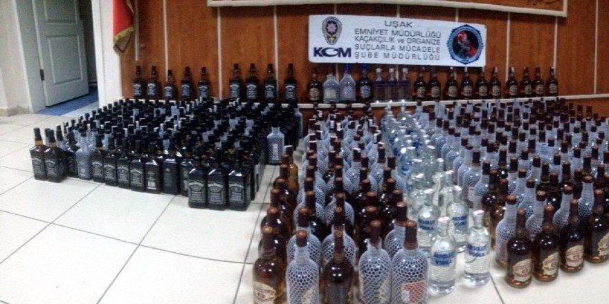 Uşak'ta Yılbaşı Öncesi 477 Şişe Kaçak İçki Ele Geçirildi