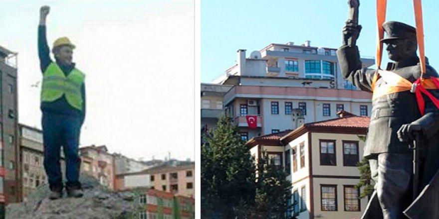 Rize'de Atatürk heykeli yerine poz verip 'Aha yeni Atanız' diyerek paylaşanlar hakkında karar verildi
