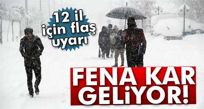 12 il için kar uyarısı