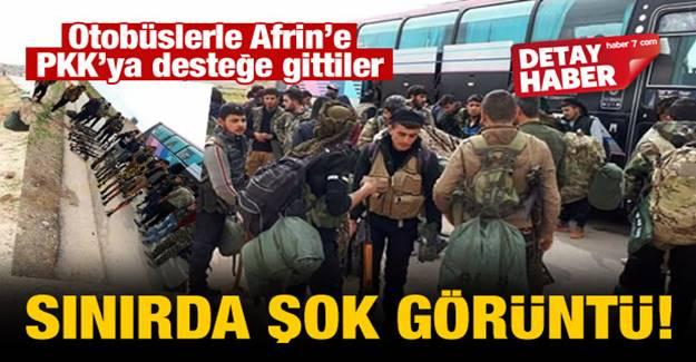 Hainlere destek için otobüslerle Afrin'e gittiler
