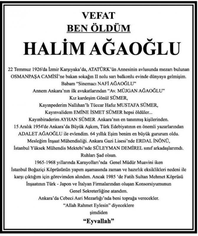 Ünlü Yazar Adalet Ağaoğlu'nun Eşi Halim Ağaoğlu Son Yolculuğuna Uğurlandı