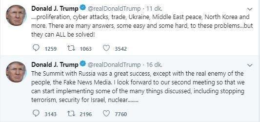 """ABD Başkanı Trump: """"Rusya'yla İkinci Toplantımızı Sabırsızlıkla Bekliyorum''"""